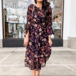 Passionate Love Black Floral Print Midi Dress
